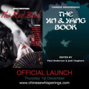 Graphic for the official launch of the Chinese Whisperings books.