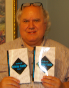 Jon Strother holding two copies of the BOFF 2 ARCs