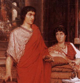 Cropped portion of the painting Catullus At Lesbia's by Sir Laurence Alma Tadema