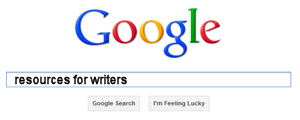 The Google search box with the search term, resources for writers